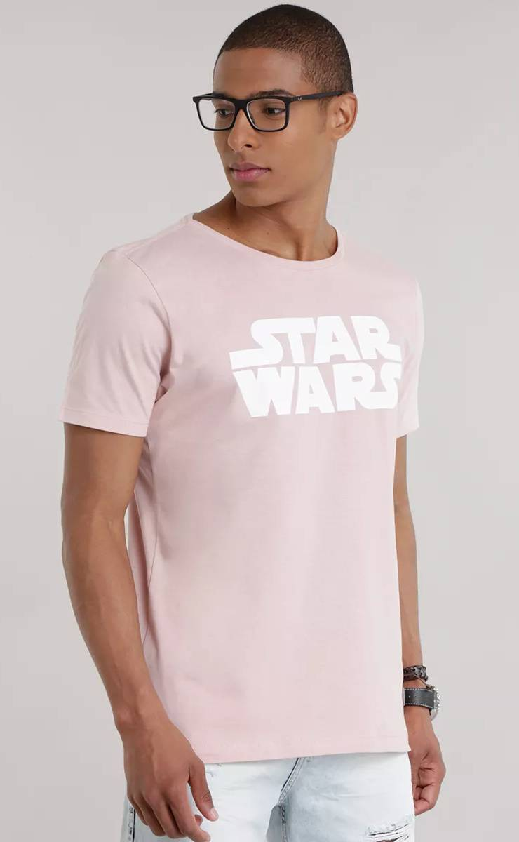 Camiseta Rosê Logo Star Wars